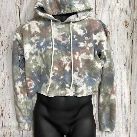 Wild Fable Women S Cropped Hoodie Long Sleeve Pullover Tie Dye Colorful